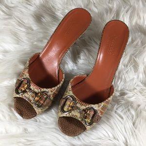 GUCCI Rare Multicolor Straw Libeccio Kitten Heels